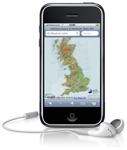 NLS Historic map displayed on an iPhone